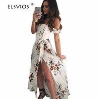 ELSVIOS New Summer Beach Dress 2018 Sexy Off Shoulder Floral Print Women Dress Boho Style Strapless