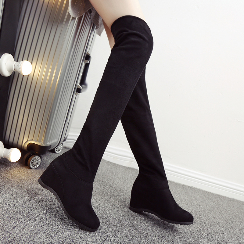 ФОТО 2016 new winter over the knee boots with warm stretch fabric sexy stovepipe Women boots