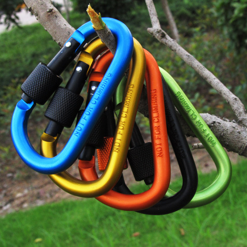 8cm Aluminum Carabiner D-Ring Key Chain Clip Camping Keyring Snap Hook Outdoor Travel Kit