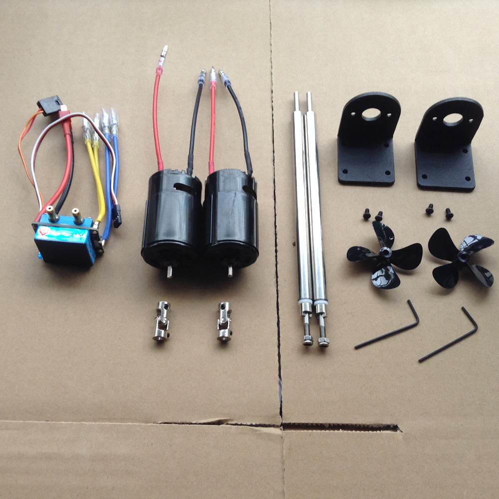 Dual Power 550 Motor Set 480A Brushed Water Cooling Double way ESC for DIY RC Bait Boat Suitable for 4s Battery