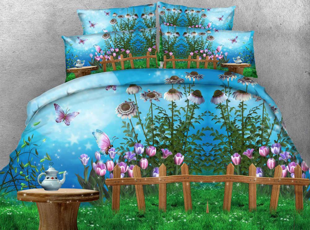wonderland Digital print Bedding Set  Quilt Cover  Design Bed Set Bohemian a Mini Van Bedclothes 3pcs Large size 260*225cm JF063
