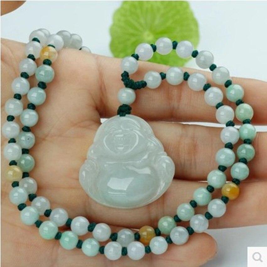 100% naturel birmanie sculpté à la main pierre bouddha chandail chaîne collier pendentif bijoux
