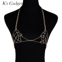 K'S Gadget Catene Collana Donne Sexy Cablaggio del Reggiseno Corpo Collana Catena Dichiarazione Collana di Cristallo Del Corpo Dei Monili di Modo