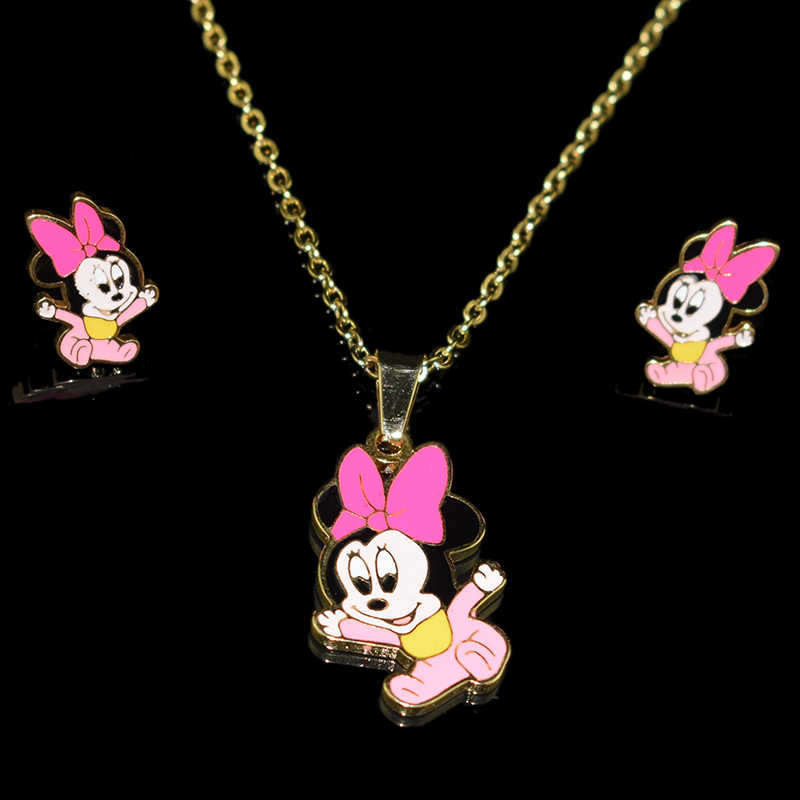 Cartoon Mickey Minnie necklaces pendants Stainless Steel 100% Golden Plated Necklace Earrings Set Woman/Child Jewelry Set Gift