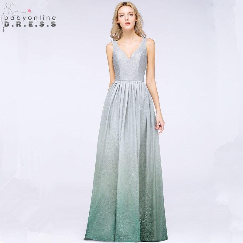 Robe de Soiree Sexy Backless Reflective Ombre Long Evening Dress 2019 V Neck Bright Silk Evening