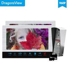 Dragonsview 10 дюймов 960 P видео дверной звонок 2 монитора проводной видеодомофон система записи SD карта металл всепогодный