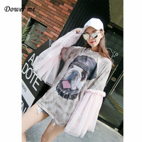 Women Oversize Cotton T Shirts Ladies Punk Style Mesh Flare Sleeve Shirts Female Loose Cartoon Tops