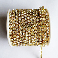 10 yards/roll gold base clear crystal SS6 to SS18 intensive gold base new style diy beauty accessories rhinestone chain