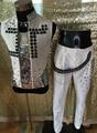 Moda masculina fresco elegante artesanal de Diamantes Branco Colete casaco Trajes DJ Stage wear Nightclub cantor dancer desempenho