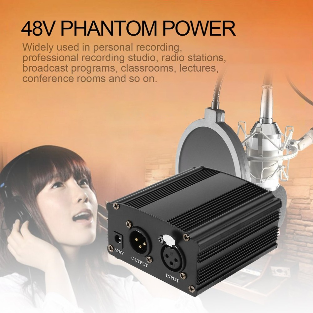 48V DC Phantom Power Supply with Audio Line For Condenser Microphone Computer Vocal Recording Studio Broadcasting Free Shipping