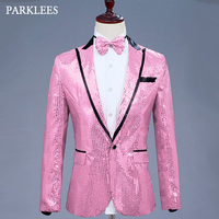 Mens Glitter Blazer Jacket With Bow Tie Pink Sequins Dress Suit Men Nightclub Prom Stage Show Wedding Grooms Sing Costumes Homme