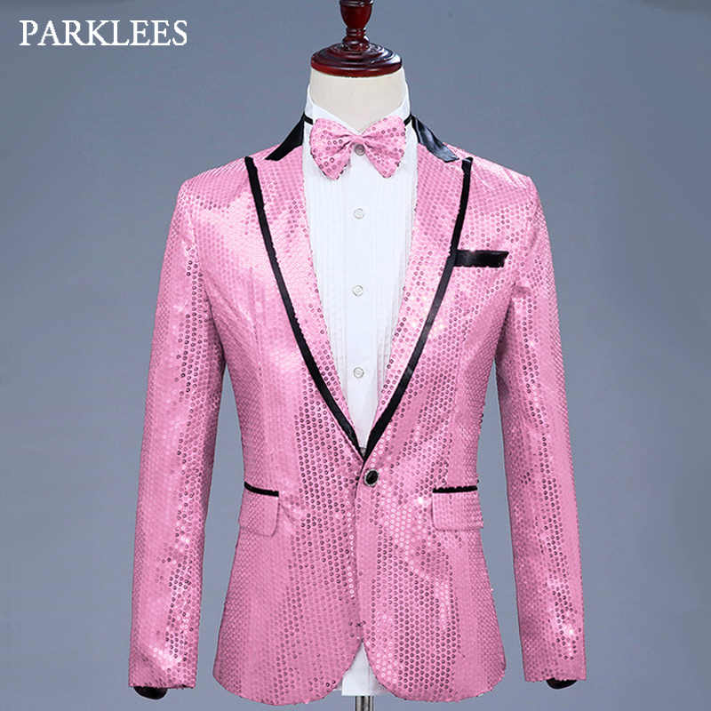Mens Glitter Blazer Jacket With Bow Tie Pink Sequins Dress Suit Men  Nightclub Prom Stage Show 22b674019682