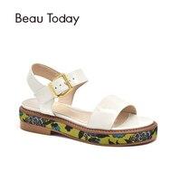 BeauToday женские босоножки Лакированная кожа деликатный вышивать Туфли с ремешком и пряжкой Женская летняя обувь Фирменная Новинка ручной раб