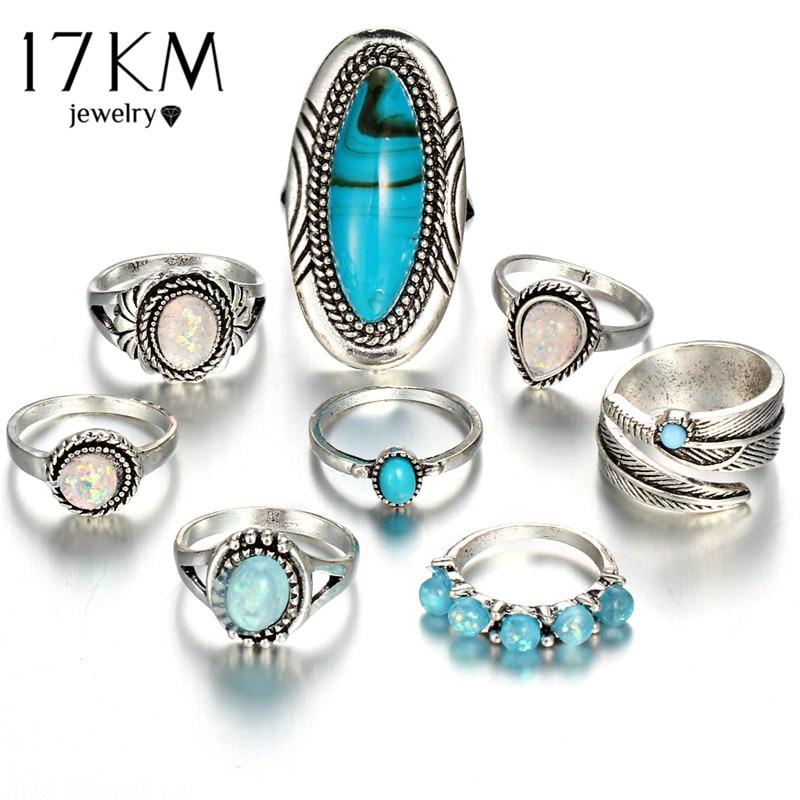 17KM Vintage ģeometriskā akmens opāla gredzenu komplekts sievietei - Modes rotaslietas