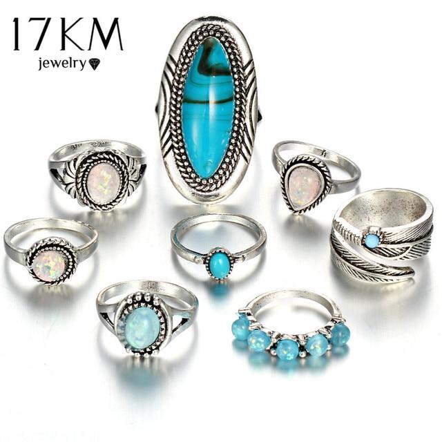 17KM Vintage Geometric Stone Opal Rings Set For Woman Bohemian Antique Silver Co