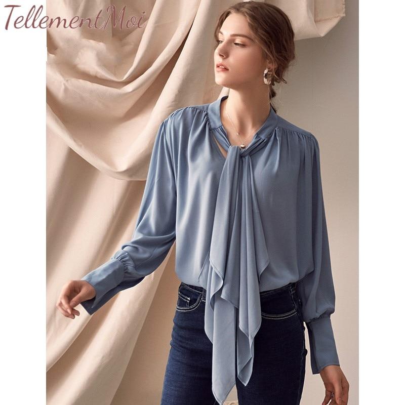 Manches longues chemises Blouse femmes col montant hauts femme élégant décontracté lâche hauts et chemisiers mode vêtements 2019 printemps Blusa