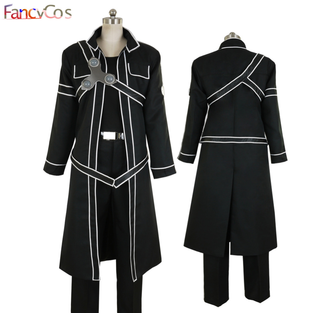Halloween Sword Art Online SAO Kirito Uniform Kirigaya Kazuto Cosplay Costume Game Japanese