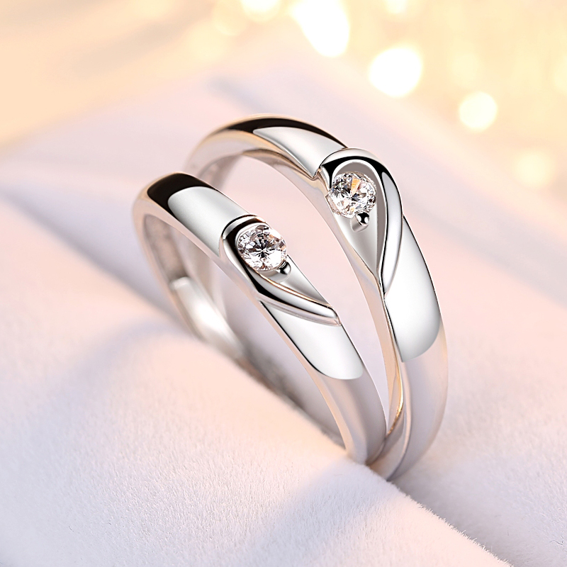 Trendy Jewelry Couple Ring Sets For Wedding Bride And Groom Solid
