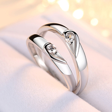 Trendy Jewelry Couple Ring Sets for Wedding Bride and Groom Solid 925 Sterling Silver Band Heart Romantic Set Gift