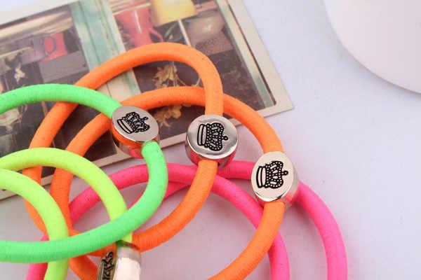 Mới đến (10 cái/gói) thời Trang hàn quốc phụ nữ đàn hồi tóc ban nhạc kẹo màu tóc cao su sợi dây tóc phụ kiện với kim loại