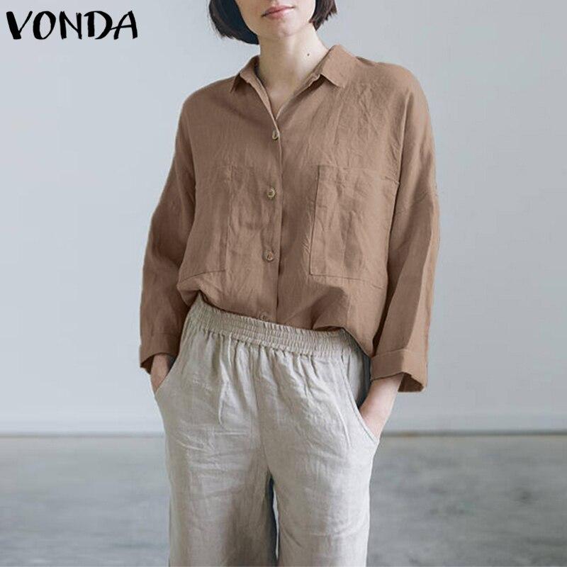 VONDA Blusas Femininas 2018 Autumn Women Shirts Fashion Blouses Casual Long Sleeve Plus Size Vintage Cotton Tops Plus Size