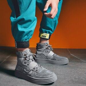 Image 2 - Aelfrec Eden/ботинки на плоской платформе с эластичным ремешком на шнурках для мужчин, модные мотоциклетные кроссовки, AE27, 2019