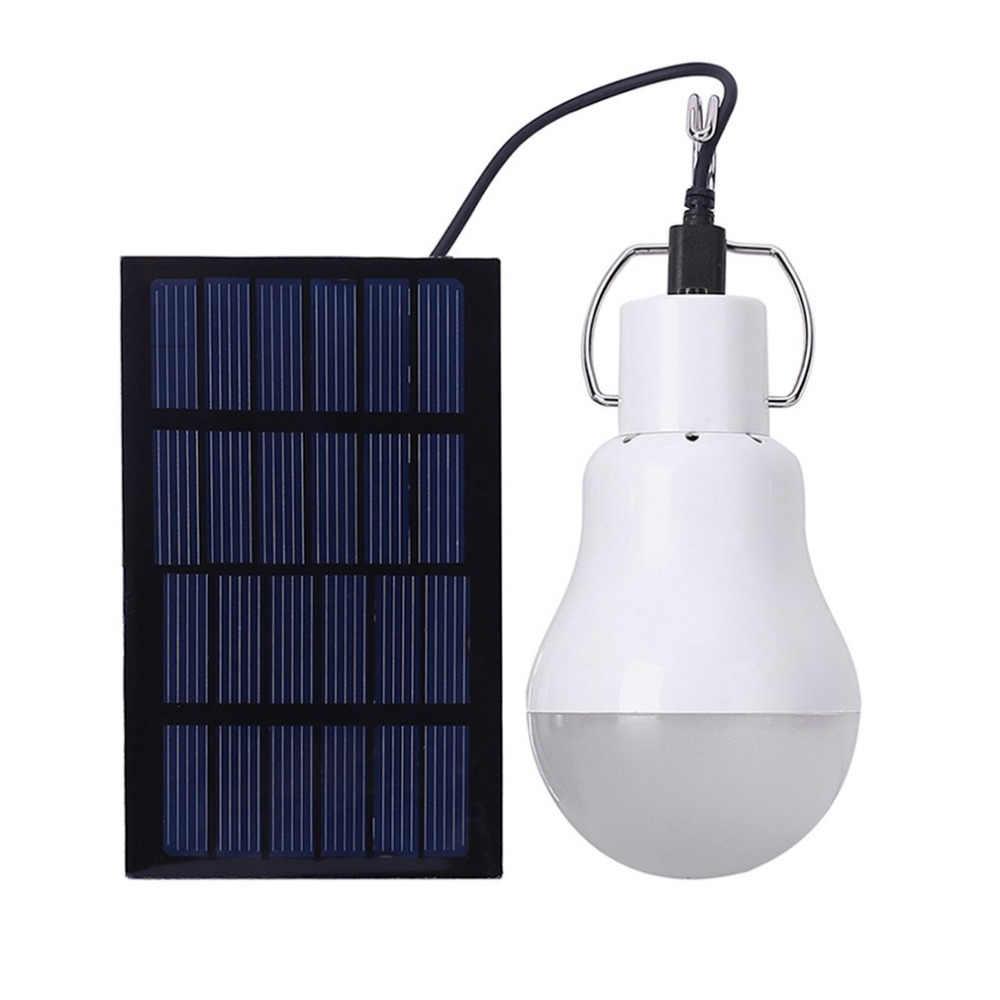 LED Solar Light Bulb Portable Lampu Taman Outdoor Tahan Air Lampu untuk Indoor Home Camping Emergency 15W 130LM