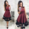 TAOVK 2016 new fashion Russian style Women Red wine color dress sleeveless High waist large Swing dress