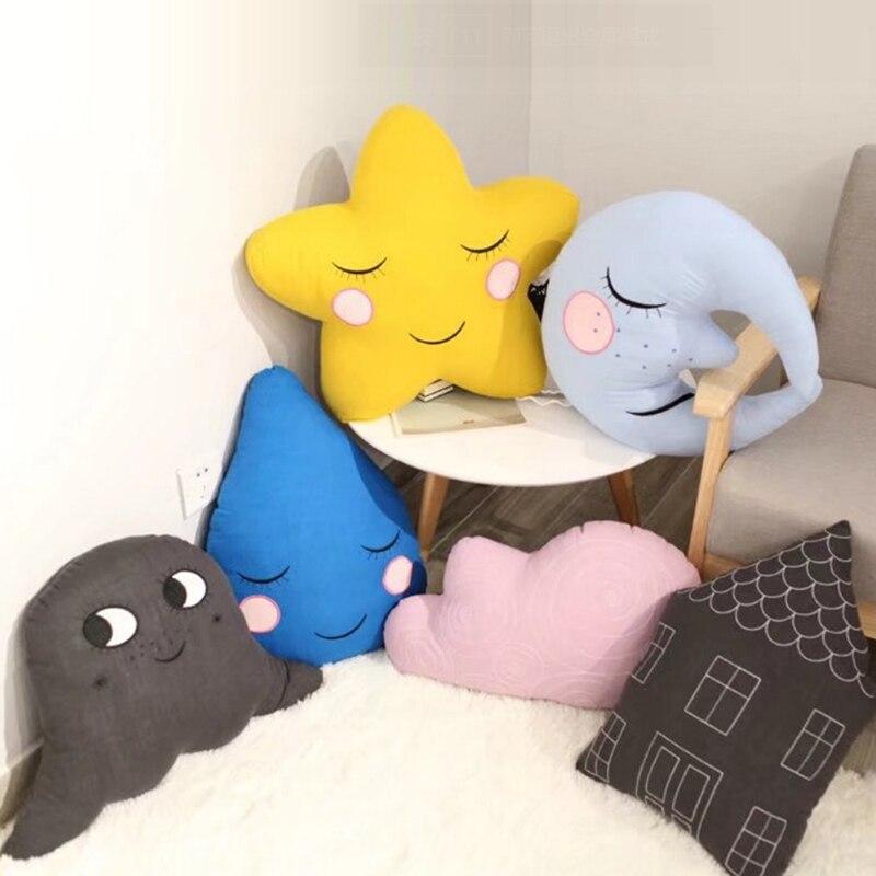 Cartoon Cute Moon Plush Dolls Toy Cloud Pillow Plush Toys Soft Dolls Chirstmas Kid Gift Birthday Present House Stars Cushion