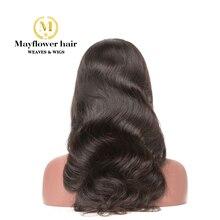 """Mayflower 13x"""" Синтетические волосы на кружеве парики 150% Плотность Необработанные девственные волнистые волосы, для придания объема, натуральный цвет Выбеленные узлы с детскими волосами Средний кепки"""