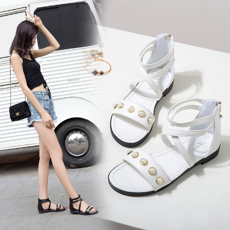 2019 summer new student flat sandals female Korean fashion pearl cross belt women's Roman sandals sandals(China)