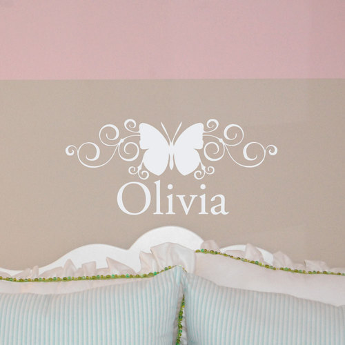 Scroll Butterfly Custom Name Monogram Wall Decal Sticker