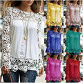 Women Fashion Hollow Out Floral Lace Chiffon Blouse Casual Long Sleeve Shirt Tops DY0216