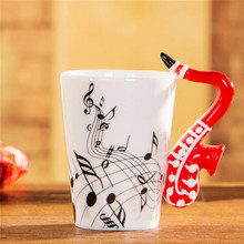 2017 New Novelty Music Note Guitar Ceramic Cup Personality Coffee Juice Lemon Mug Tea Cups Home Office Drinkware Gift