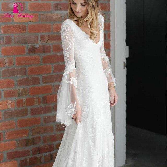 laure de sagazan 2016 vintage wedding dress v neck boho chiffon lace
