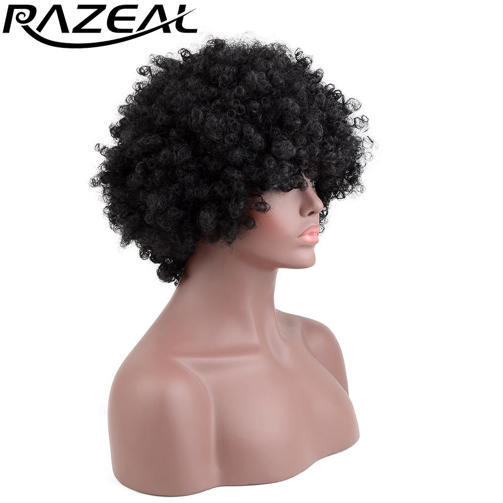 Razeal Natural Afro Kinky Curly Synthetic Wigs African ...