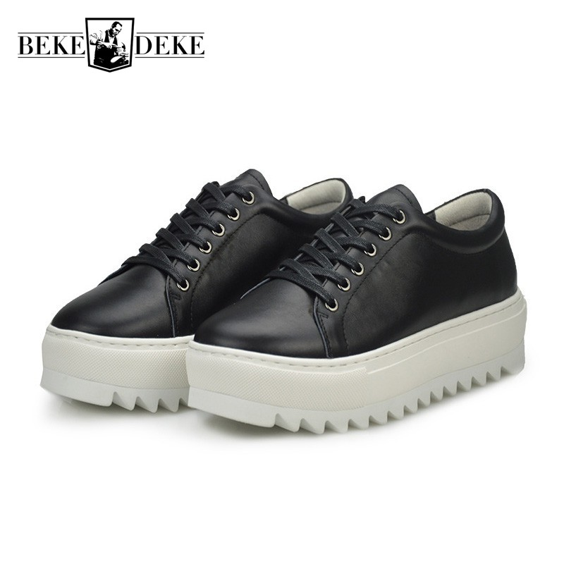 New Mens Thicken Platform Creeper Casual Shoes Hip Hop Stage Show Footwear Antiskid Genuine Leather Top Brand Punk Shoes For Men fooraabo 2017 new print luxury mens casual shoes flat autumn winter hip hop high top men sneaker pu leather shoes big size 38 45