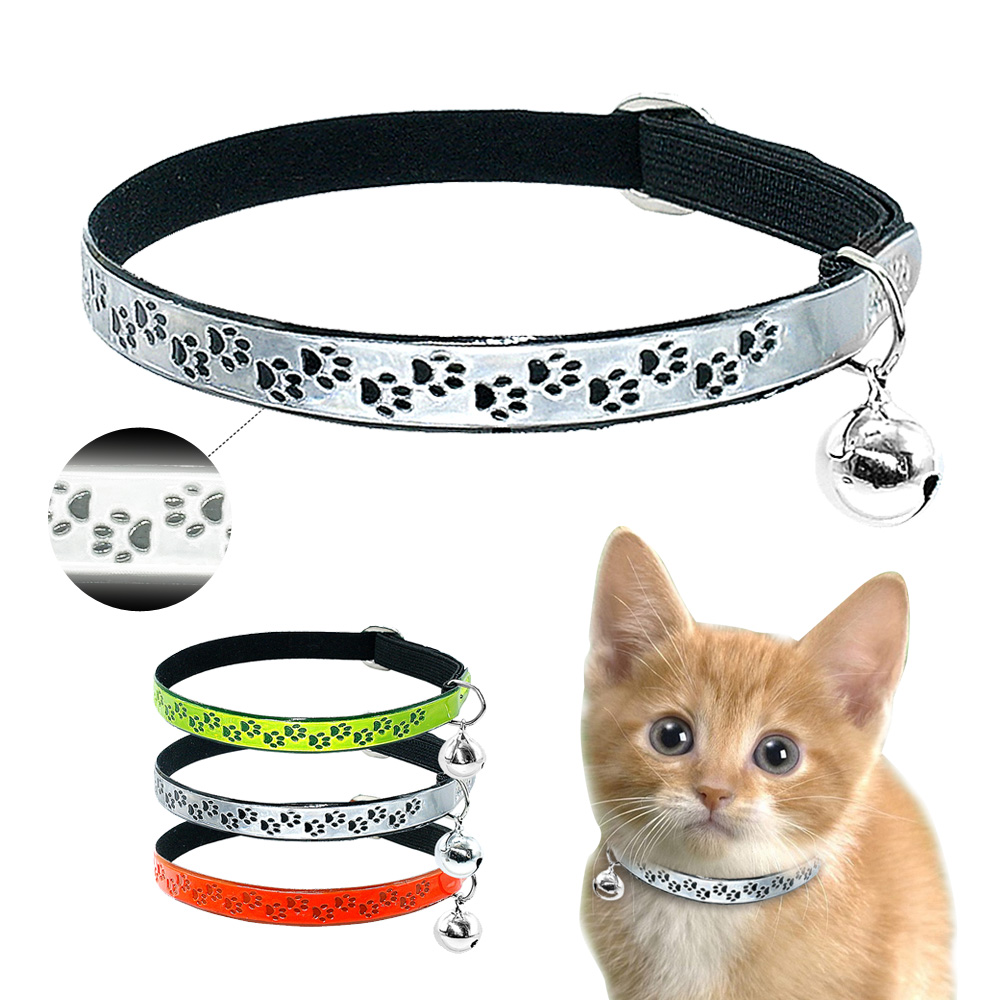 Safety Florescence Cat Collar Puppy Cat Cute Paw Print Necklace With Bell For Small Cats Dogs Kitten
