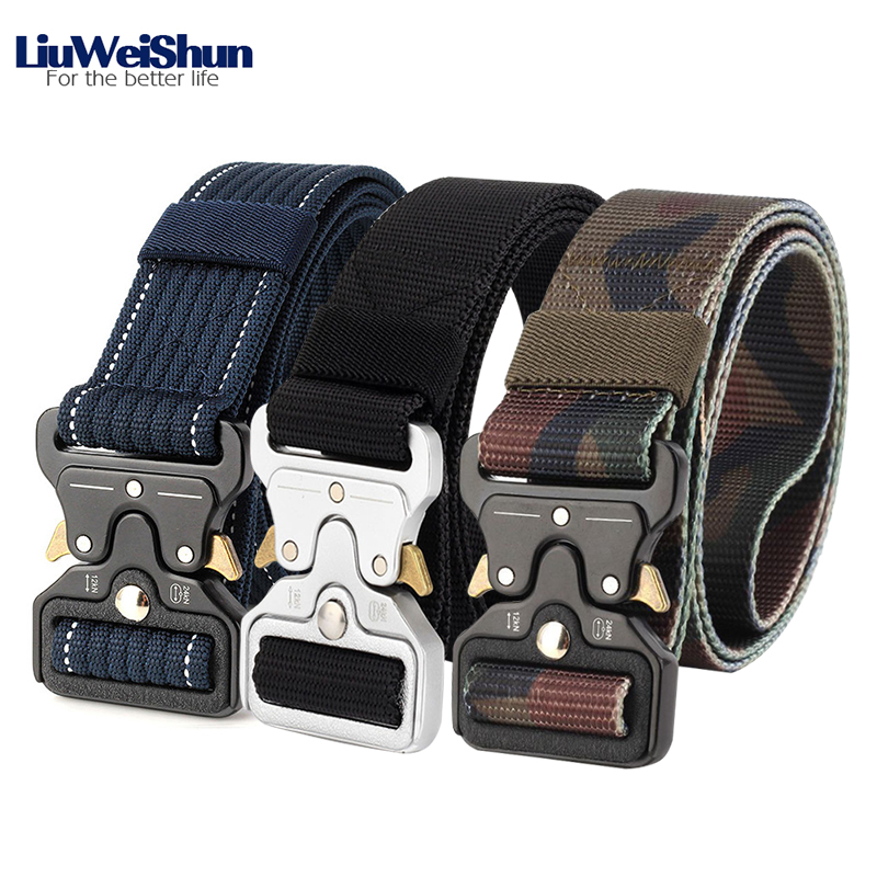 LiuWeiShun 2018 Heavy Duty Tactical   Belts   Men Waist Straps Army Military Equipment Hunting Nylon   Belts   With Znic Alloy Buckle