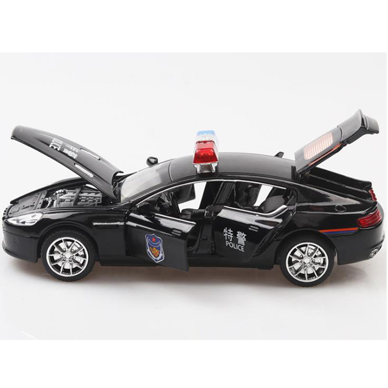 Hot Police Toy Car 1:32 Aston Metal Police Toy Cars Diecast Scale Model With Pull Back Function/Music/Light/Kids Gift Toys