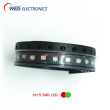 100PCS 1615 SMD LED bicolor ( red + true green ) double color LEDs  0603 1.6*1.5mm 1.8-2.0v 20mA Free shipping