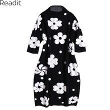 Readit вязаное платье 2017 осень-зима женщина платье Белый 3D цветочной аппликацией О-образным вырезом Мода Милое Платье Vestidos d2714