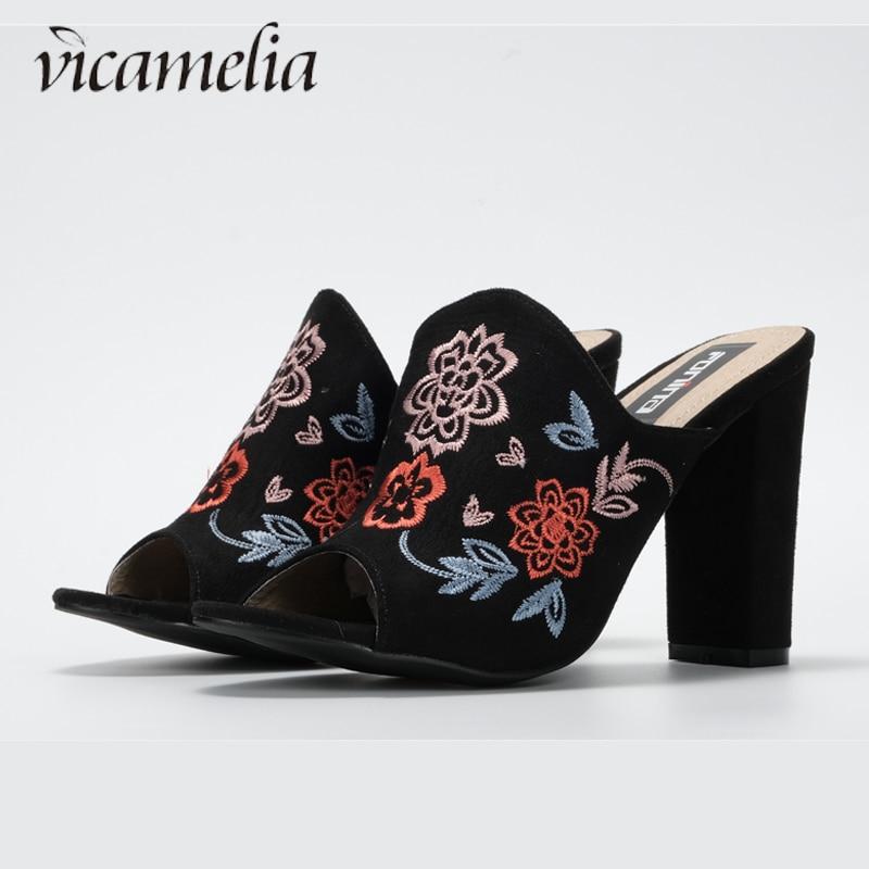 Vicamelia New Embroidery Flower Bubble Blocks Գուլպաներ - Կանացի կոշիկներ
