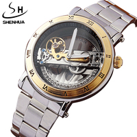 SHENHUA Luxury Hollow Steampunk Transparent Skeleton Crystal Flywheel Automatic Full Steel Gold Dress Men's Mechanical Watch