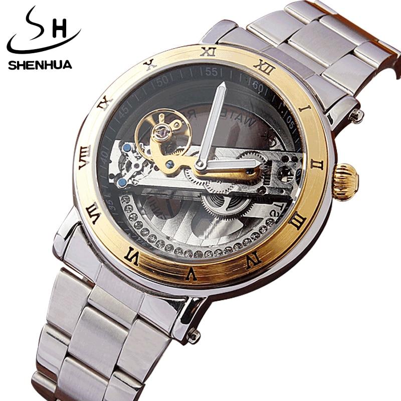 SHENHUA Luxury Hollow Steampunk Transparent Skeleton Crystal Flywheel Automatic Full Steel Gold Dress Mens Mechanical Watch