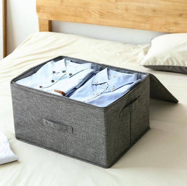 Cotton and linen storage box zipper storage box cloth art folding sealed box with lid underwear storage box