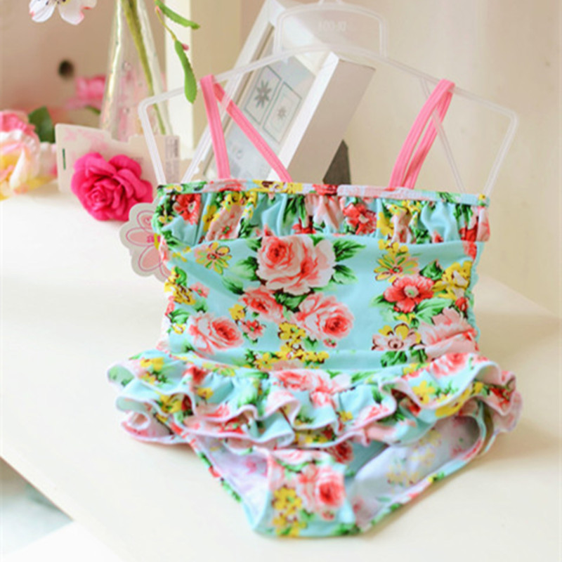 Girls Swimwear cute baby girl bathing suit children one piece swimsuit floral print princess swim costume for kids