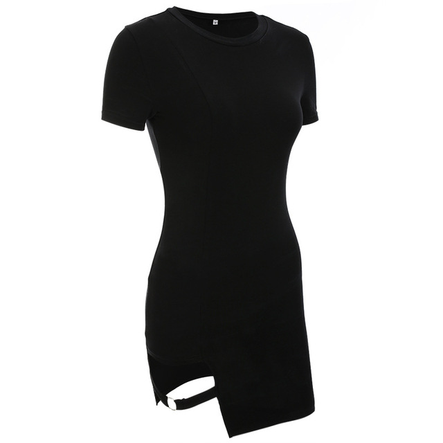Black Harajuku Dresses Women Summer Short Sleeve Sexy Hollow Out Asymmetrical Metal Ring Slim Mini Dress Gothic Girls 4