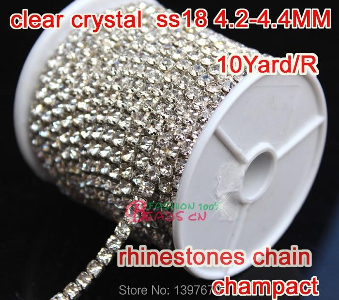 Rhinestone brillante Recortar 1 Fila 4.4mm Ss18 Cristal claro Cadena - Artes, artesanía y costura