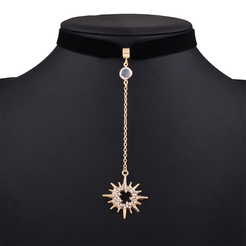 hot cool Newest fashion jewelry accessories gold color sun and moon shape pendant  velvet Necklace for couple lovers' N493